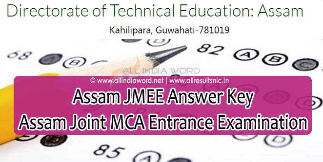 Assam JMEE Answer Key 2020 - Joint MCA Entrance Examination